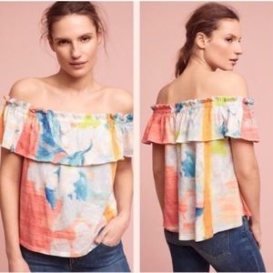 Anthro Meadow Rue Watercolor Blouse